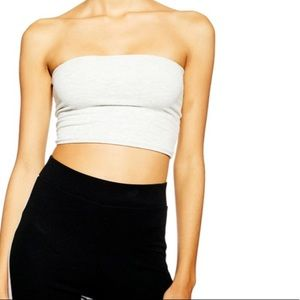 Topshop White Ribbed Cropped Tube Top